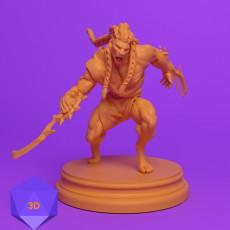230x230 leonin warrior hunter dnd miniature mini 3d files stl ranger rogue dungeons and dragons front