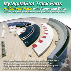 MyDigitalSlot All Curves Pack, 3D printed, DIY track parts for your 1/32 Slot Car Racing Game